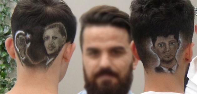 Erdoğan ve şehit Halisdemir'n portrelerini saçlarına kazıdılar