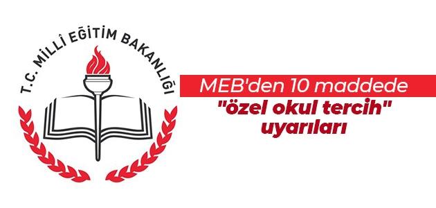 """MEB'den 10 maddede """"özel okul tercih"""" uyarıları"""