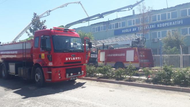 Konya'da silah kooperatifine ait binada büyük yangın!