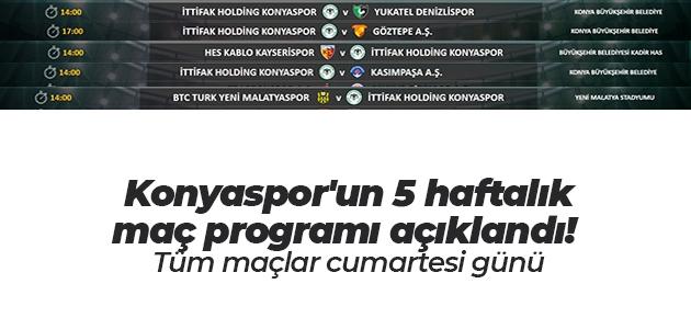 Konyaspor'un 5 haftalık maç programı açıklandı! Tüm maçlar cumartesi günü