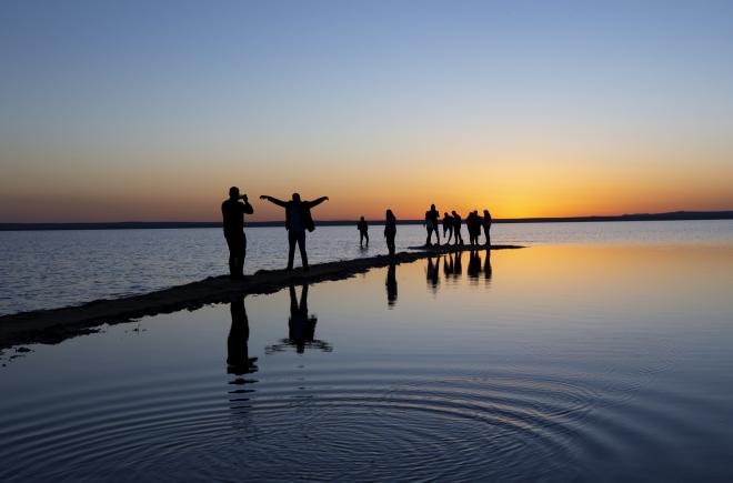 Tuz Gölü'nde gün batımı