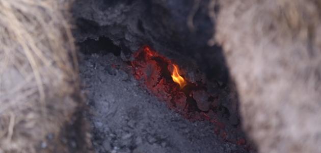 Konya'da kuruyan göl yatağındaki yanan toprak şaşırtıyor