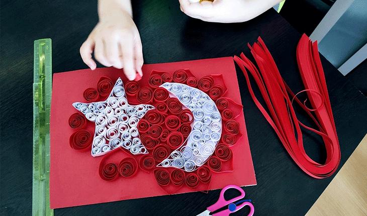 Konya'da öğrenciler quilling kağıtlarını sanata dönüştürdüler