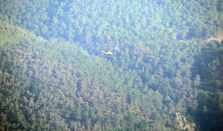 Kontrol altına alınan orman yangını bölgesinde soğutma çalışmaları sürüyor