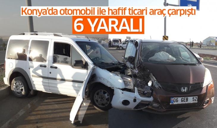Konya'da otomobil ile hafif ticari araç çarpıştı: 2'si çocuk 6 yaralı